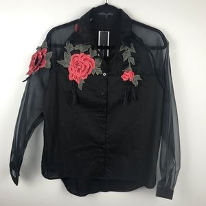 Floral embroidery vintage shirt
